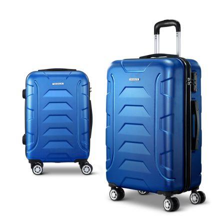 Wanderlite 2pcs Carry On Luggage Sets Suitcase Tsa Travel Hard Case Lightweight Blue