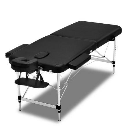 Zenses 70cm Wide Portable Aluminium Massage Table Two Fold Treatment Beauty Therapy Black