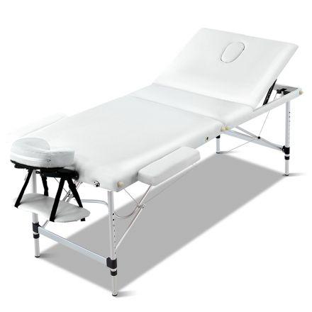 Portable Aluminium 3 Fold Massage Table Chair Bed White 60cm