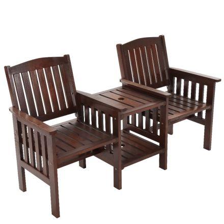 Gardeon Garden Bench Chair Table Loveseat Wooden Outdoor Furniture Patio Park Charcoal