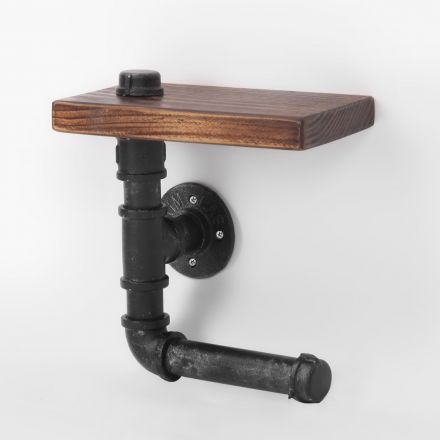 Rustic Industrial Diy Floating Pipe Shelf Paper Holder 23cm