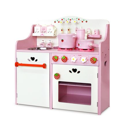 Children Wooden Kitchen Play Set Pink