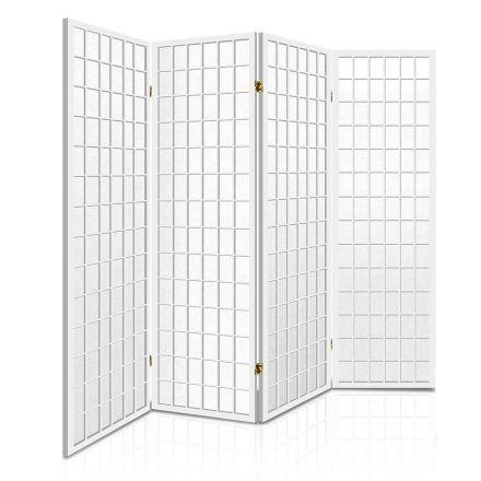 Room Divider 4 Panel - White