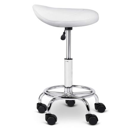 Saddle Pu Swivel Salon Stool White