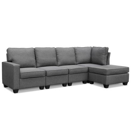 Artiss 5 Seater Sofa Chair Set Corner Couch Ottoman Fabric Dark Grey