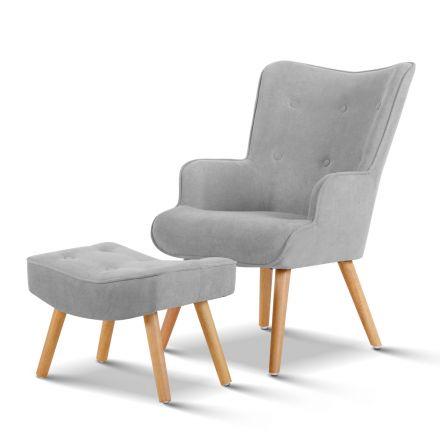 Armchair And Ottoman - Light Grey