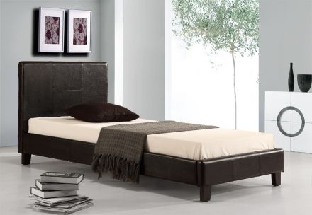 Single Pu Leather Bed Frame Black
