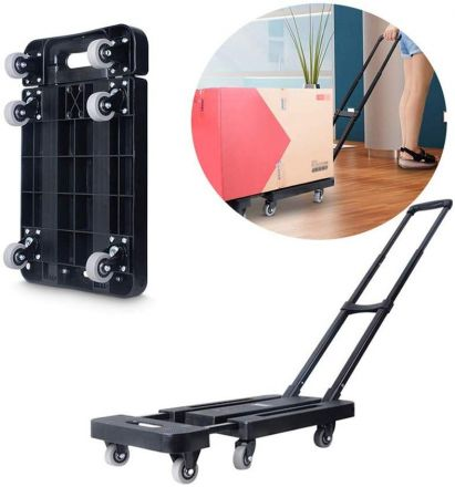 Foldable Hand Flatbed Trolley Cart 6 X 360° Rotating Wheels With Maximum Load 200kg