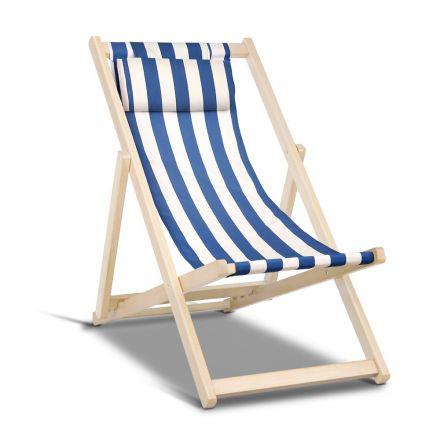 Fodable Beach Sling Chair - Blue & White Stripes