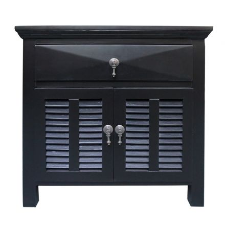 French Provincial Classic bedside table 1 Draw with Door Black front