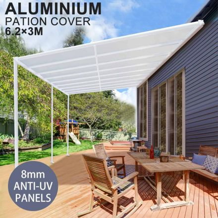 DIY 8mm Anti UV Panels Pergola Kit Outdoor Patio Deck Cover Roof 6.2 x 3m Verandah Aluminum