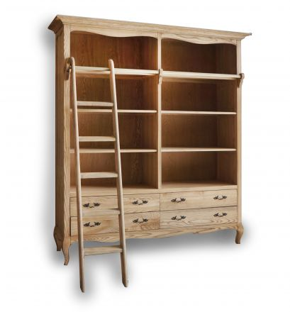 French Provincial Furniture Natural Oak Open Library Bookcase / Bookshelf with Ladder