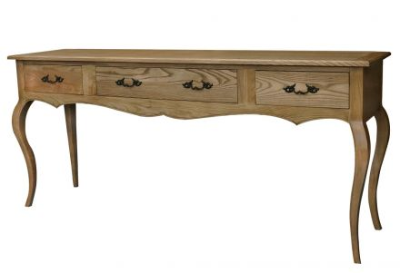 French Provincial Furniture Natural Oak 3 Drawers Console Hallway Table Sideboard