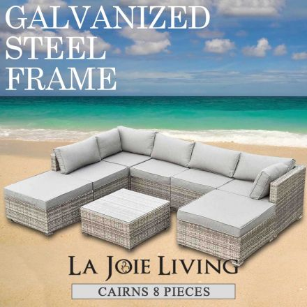 Cairns 7 Seater Outdoor Sofa Modular 8 Piece Set Rattan Furniture Lounge Light Ash Brown
