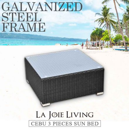 La Joie Outdoor Living Tempered Glass Coffee Table Rattan Furniture Lounge