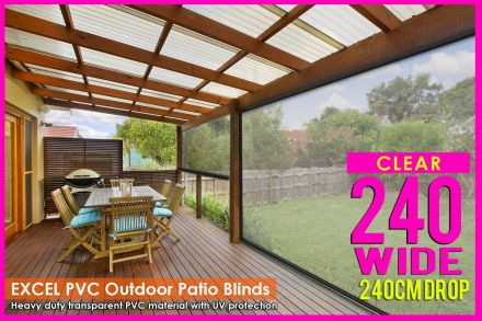 240CM X 240CM Heavy Duty PVC Clear Patio Cafe Blinds Outdoor UV Protect Awning