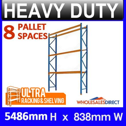 Ultra 5486mm H x 838mm Pallet Racking 8 Space Package - Dexion Compatible
