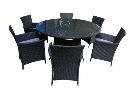 Honolulu 7 Piece 6 Seater Outdoor Round Dining Set Furniture Rattan Steel Frame