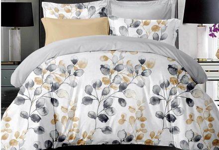 King Size Idina Leaf Pattens Quilt Cover Set (3pcs)