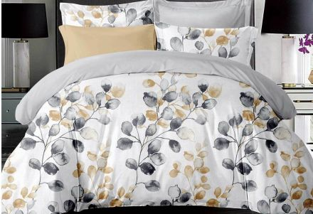 Queen Size Idina Leaf Pattens Quilt Cover Set (3pcs)