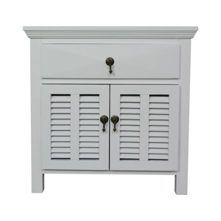 Hamptons Louvre White Bedside Table 1 Drawer with Door