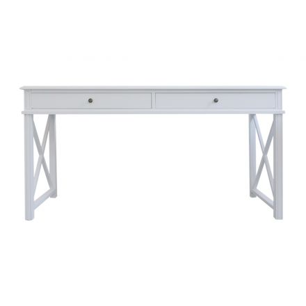 Hamptons Halifax Side Cross Console Hall Table/ Study Desk in White