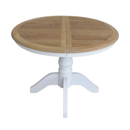French Provincial Classic White Extendable Round Dining Table with Oak Top