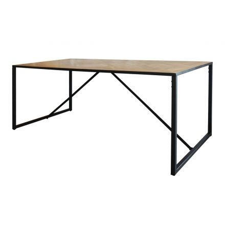 Detroit Industrial Loft Parquet Oak Trestle Table Dining Table with Iron Base