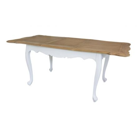 French Provincial Furniture White Extendable Dining Table with Natural Oak Top