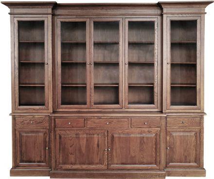 Hamptons Buffet Sideboard Glass Doors Hutch Bookcase Natural Oak