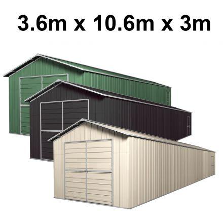 Double Barn Door Garage Shed 3.6m x 10.64m x 3m (Gable)