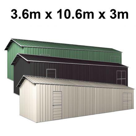 Garage Workshop Shed 3.6m x 10.64m x 3m Side Double Doors + PA doors 7 Frames Design