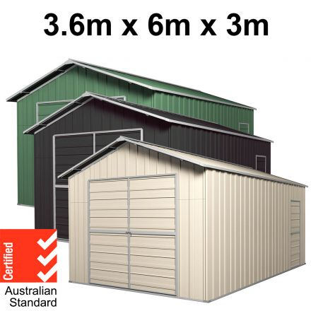 Garage 6m x 3.6m x 3m Double Barn Door Workshop Shed EXTRA High 4 Frames