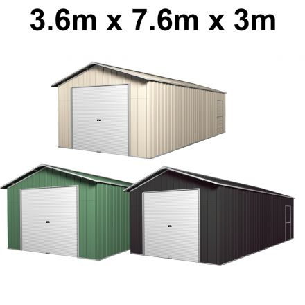 Roller Door Garage Shed 3.6m x 7.6m x 3.07m (Gable) Roller Door