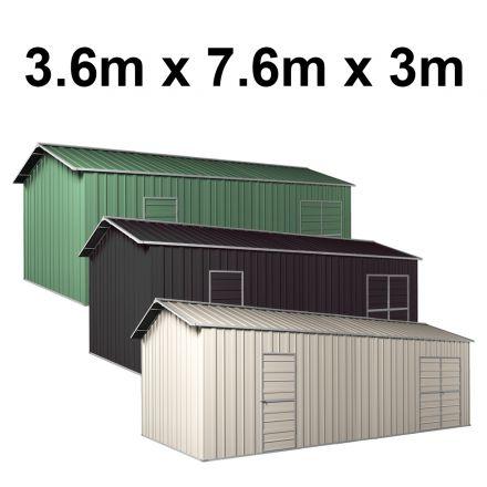 Garage Workshop Shed 3.6m x 7.6m x 3m Side Double Doors + PA doors 5 Frames Design EXTRA High