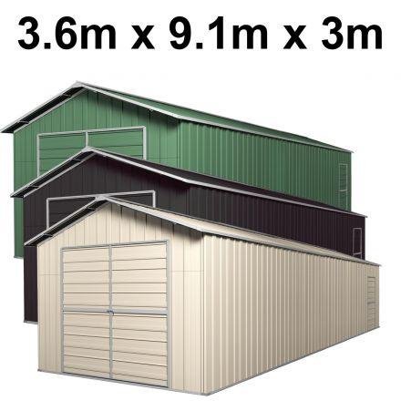 Double Barn Door Garage Shed 3.6m x 9.1m x 3m