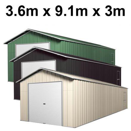 Roller Door Garage Shed 3.6m x 9.1m x 3.07m (Gable)