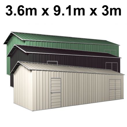 Colour Range - Garage Workshop Shed 3.6m x 9.12m x 3m Side Double Doors