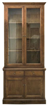 Hampton Halifax Natural Oak 2 Glass Door Hutch Display and Buffet Cabinet Cupboard