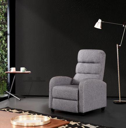 Luxury Fabric Recliner Chair - Grey