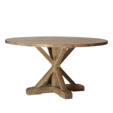 Hamptons Classic Elm Round Trestle Dining Table