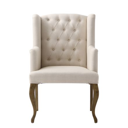 French Provincial Country Natural Linen Button Tufted Upholstered Arm Carver Chair