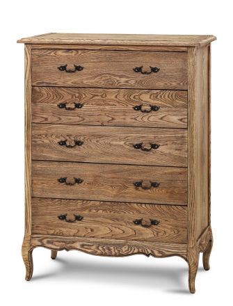 French Provincial Furniture 5 Chest of Drawers Tallboy Cabinet Natural Oak