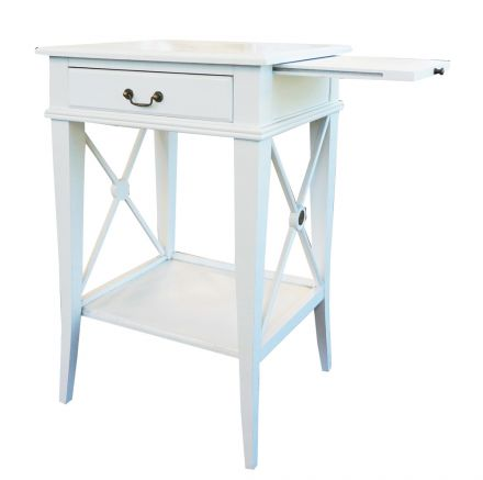 Hamptons Cross White Bedside Lamp Table with Drawer Right Handle
