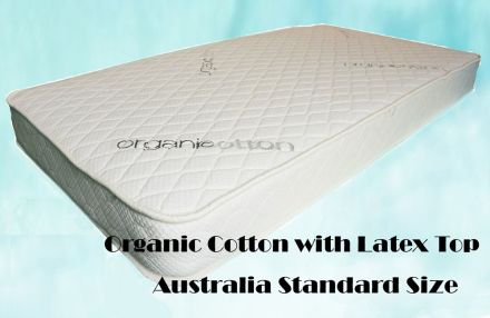 Organic Cotton with Latex Top Cot Mattress Baby Cot Mattress Australia Standard Size