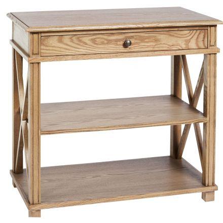 Hamptons Halifax  Natural Oak Drawer Bedside Lamp Table Nightstand