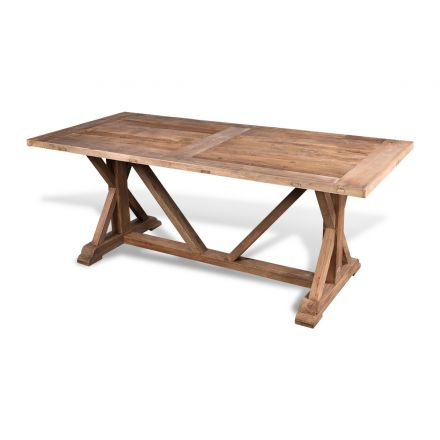 LeMans Rustic Dining Table 200cm Reclaimed Elm Wood Natural French Farmhouse