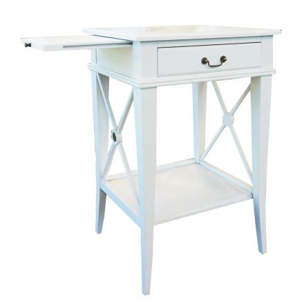 Hamptons Cross White Bedside Lamp Table with Drawer Left Handle