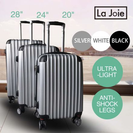 La Joie Hard Luggage Case 3PC Suitcase Travel Set Black Silver White