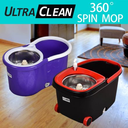 Ultra Clean Spin Mop 360 Degree and Bucket Set 2X OR 4X Microfibre Mop Head